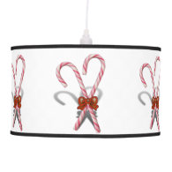 Two Christmas Candy Canes  with Ribbon Ceiling Lamp