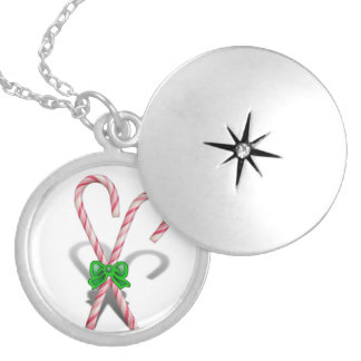 Two Christmas Candy Canes  with Ribbon Locket