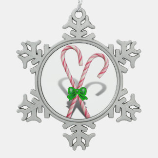 Two Christmas Candy Canes  with Ribbon Ornament