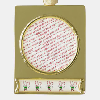 Two Christmas Candy Canes  with Ribbon Gold Plated Banner Ornament