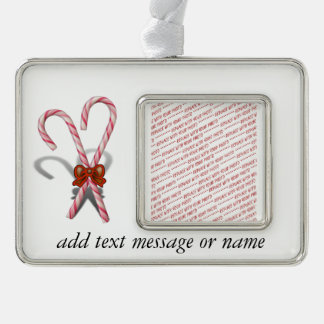 Two Christmas Candy Canes  with Ribbon Silver Plated Framed Ornament
