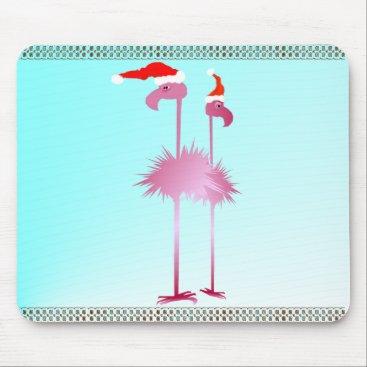 Christmas Themed Two Christmas Flamingos Mouse Pad
