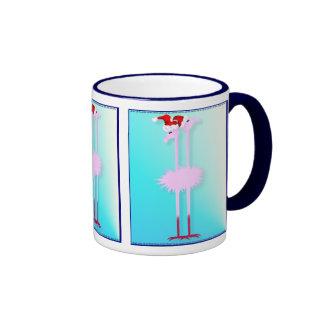 Two Christmas Flamingos  Mugs