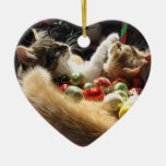 Two Christmas Kitty Cats, Kittens Together, Basket Ceramic Ornament
