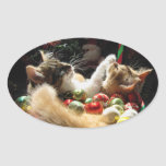 Two Christmas Kitty Cats, Kittens Together, Basket Oval Sticker