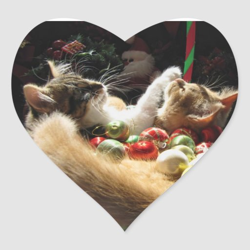 Two Christmas Kitty Cats, Kittens Together, Basket Heart Sticker