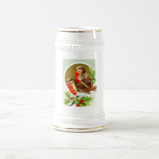 Two Christmas robins Beer Stein