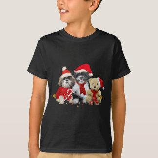 Two Christmas Shih Tzu Dogs & Teddy Bear T-Shirt