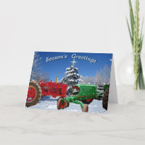 Two Christmassy Tractors Holiday Greeting Cards