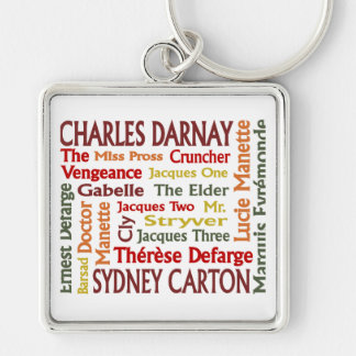 Two Cities Characters Silver-Colored Square Keychain