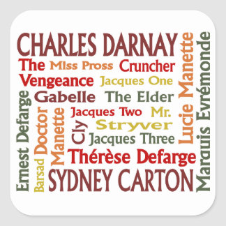 Two Cities Characters Square Sticker