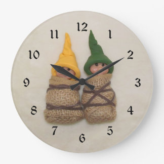 Two Clay Elf Babies, Polymer Clay Large Clock