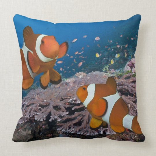Two Clownfish Throw Pillow