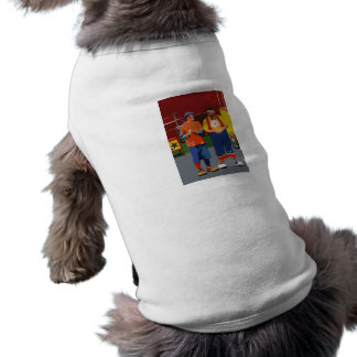 Two clowns cartooned bright colors doggie t shirt