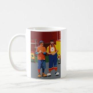 Two clowns cartooned bright colors mug
