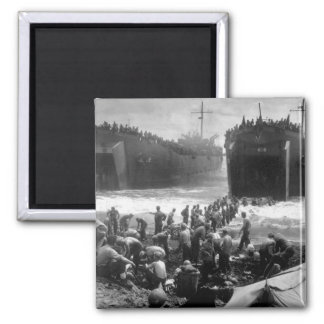 Two Coast Guard-manned LST's open_War Image 2 Inch Square Magnet