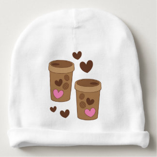 two coffee cups with love hearts baby beanie
