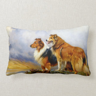 Two Collie Dogs above a Lake Lumbar Pillow