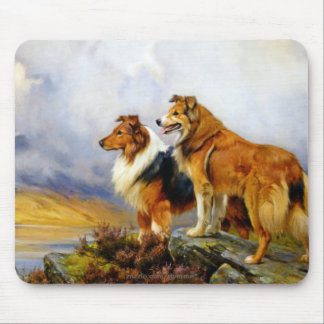 Two Collie Dogs above a Lake Mouse Pad