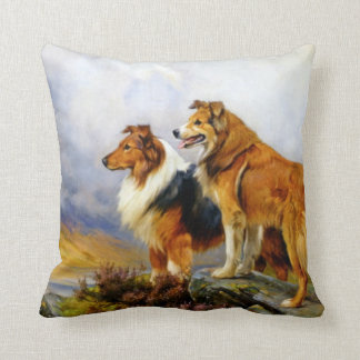 Two Collie Dogs above a Lake Throw Pillow