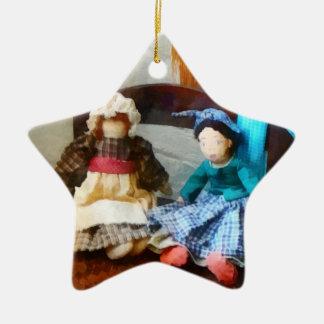 Two Colonial Rag Dolls Christmas Ornaments