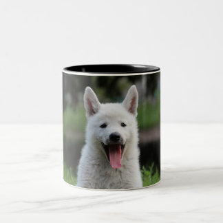 Two Color White Puppy Mug