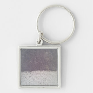 Two colored asphalt Silver-Colored square keychain