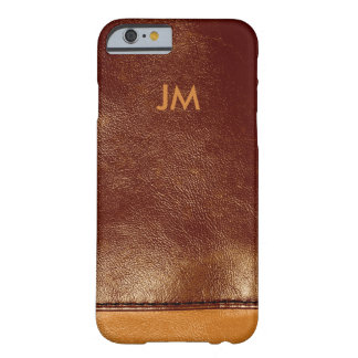 Two colored brown leather with initials barely there iPhone 6 case