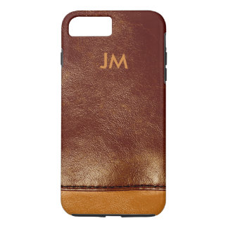 Two colored brown leather with initials iPhone 7 plus case