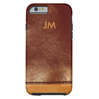 Two colored brown leather with initials tough iPhone 6 case