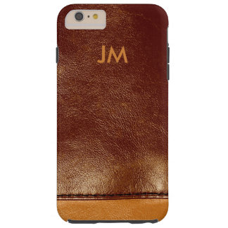 Two colored brown leather with initials tough iPhone 6 plus case