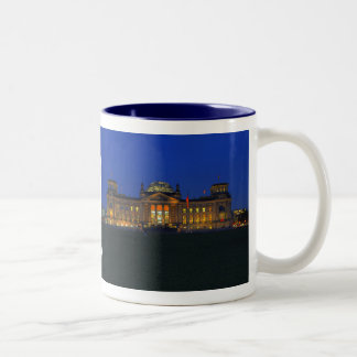 Two-colored cup blue Berlin Reichstag evening