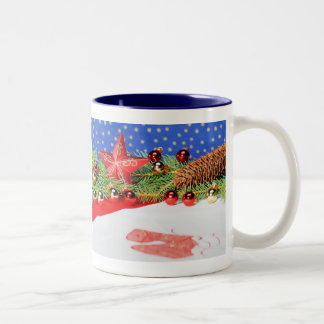 Two-colored cup blue glad Christmas holidays