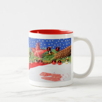 Two-colored cup red glad Christmas holidays