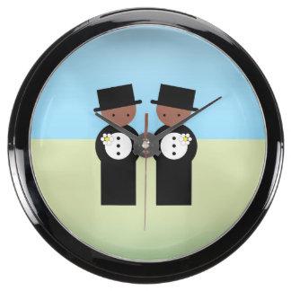 Two colored grooms aquarium clocks
