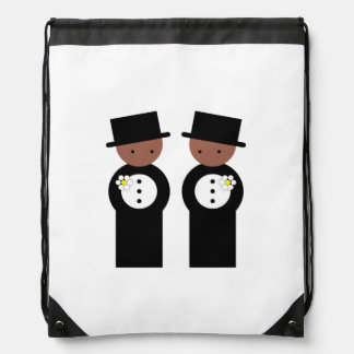 Two colored grooms drawstring bag