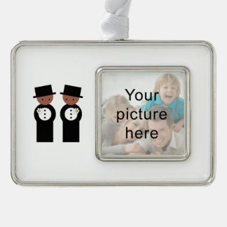 Two colored grooms silver plated framed ornament