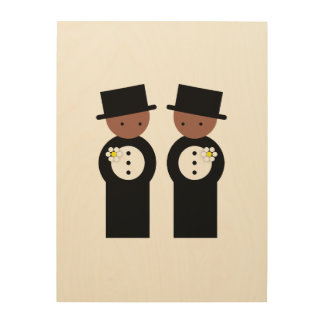 Two colored grooms wood wall art