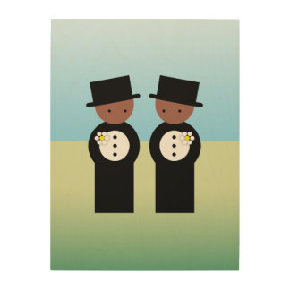 Two colored grooms wood print