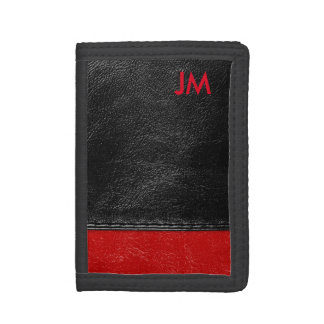 Two colored leather with initials tri-fold wallet