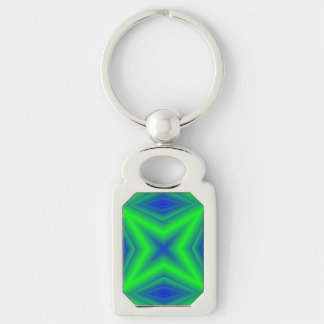 Two colored line pattern Silver-Colored rectangular metal keychain