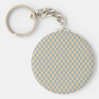 Two colored square pattern basic round button keychain