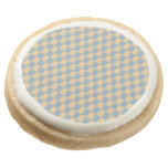 Two colored square pattern round premium shortbread cookie