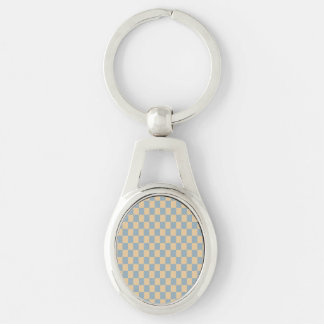 Two colored square pattern Silver-Colored oval metal keychain
