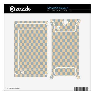 Two colored square pattern skin for motorola devour