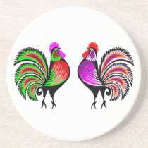 Two Colorful Alert Roosters Coaster