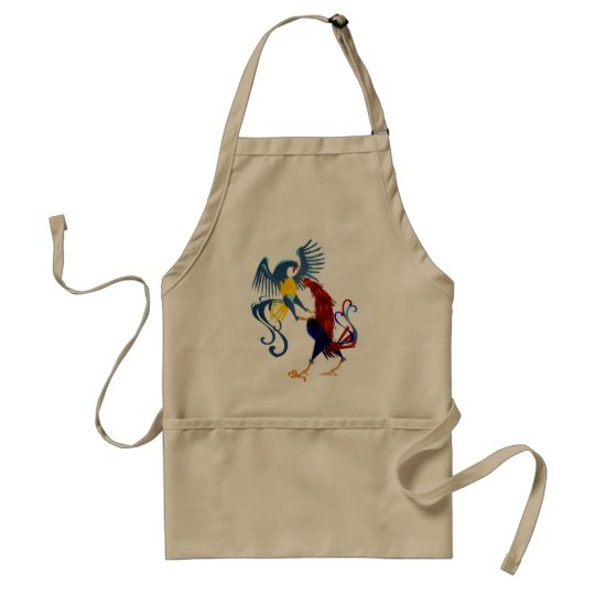 Two Colorful Fighting Roosters Aprons