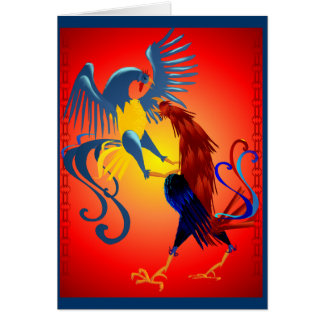 Two Colorful Fighting Roosters Cards
