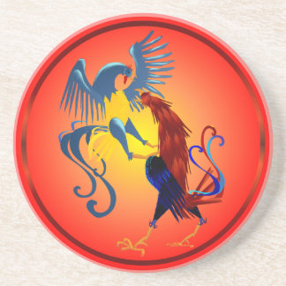 Two Colorful Fighting Roosters Coasters