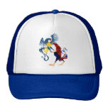 Two Colorful Fighting Roosters Hats